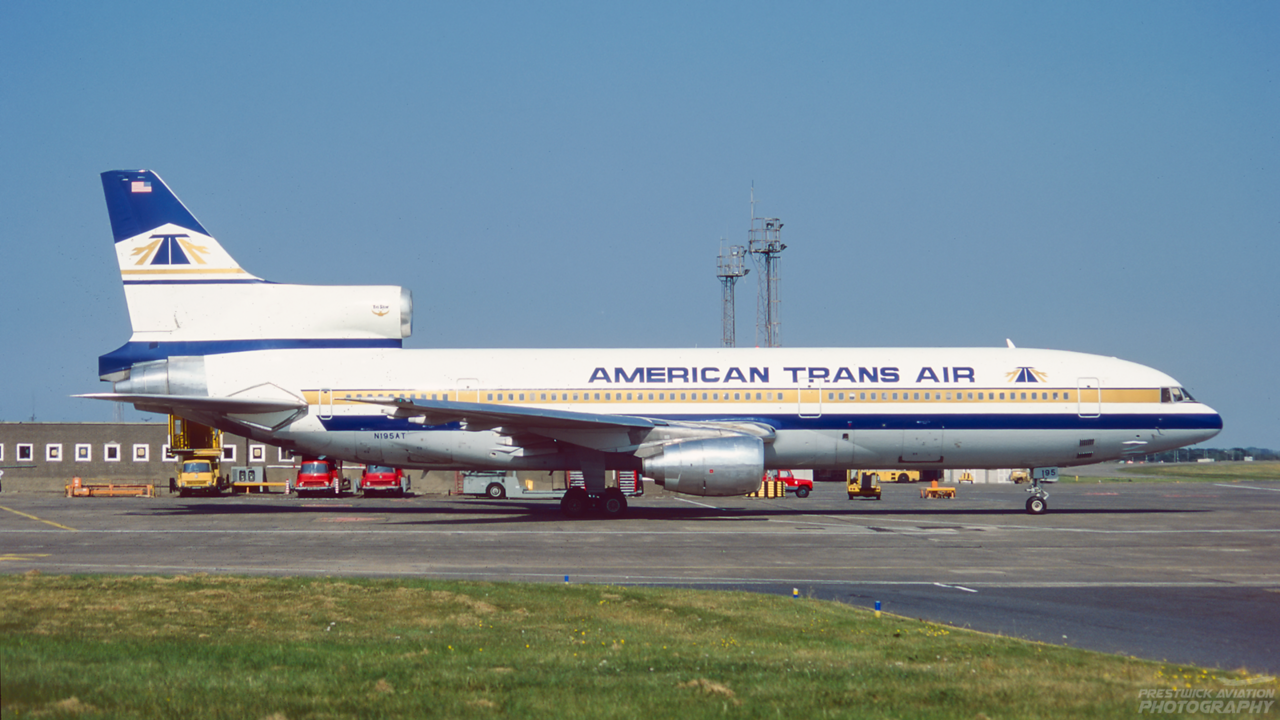 N195AT. Lockheed L-1011-385-1-14 TriStar 150. American Trans Air. Prestwick. July 1995.