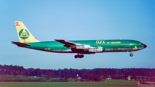 OD-AGO. Boeing 707-331C. TMA. Prestwick. November. 1988.