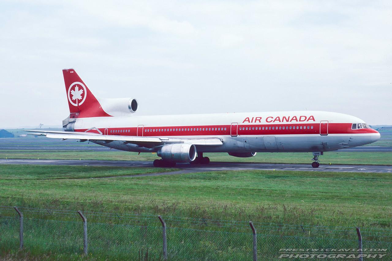C-FTNH. Lockheed L1011-385 Tristar 100. Air Canada. Prestwick. August. 1987.