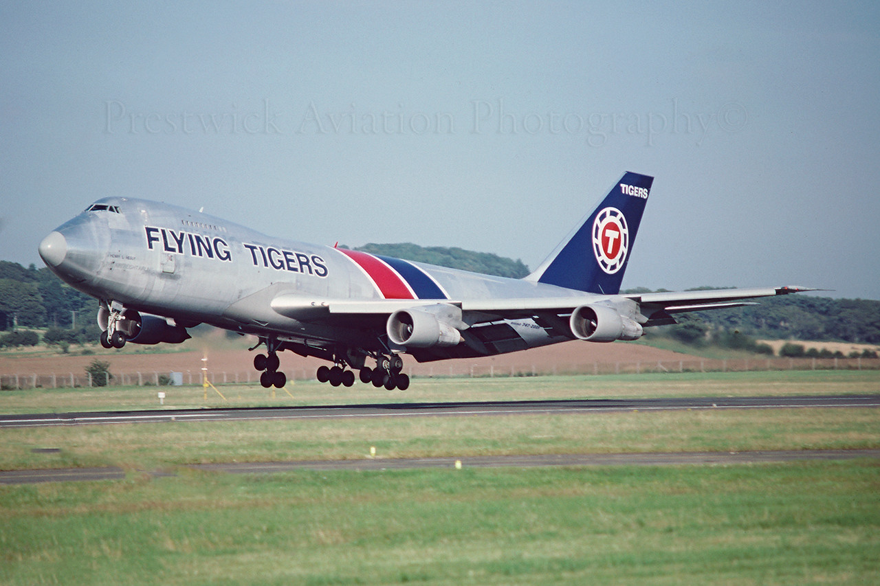N816FT. Boeing 747-245F/SCD. Flying Tigers. Prestwick. August 1988.