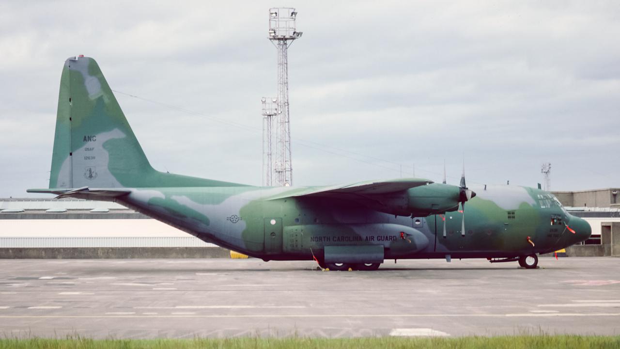 61-2638. Lockheed C-130B Hercules. USAF. Prestwick. June 1988.