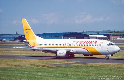 EC-FBP. Boeing 737-4Y0. Futura. Prestwick. July. 1995.