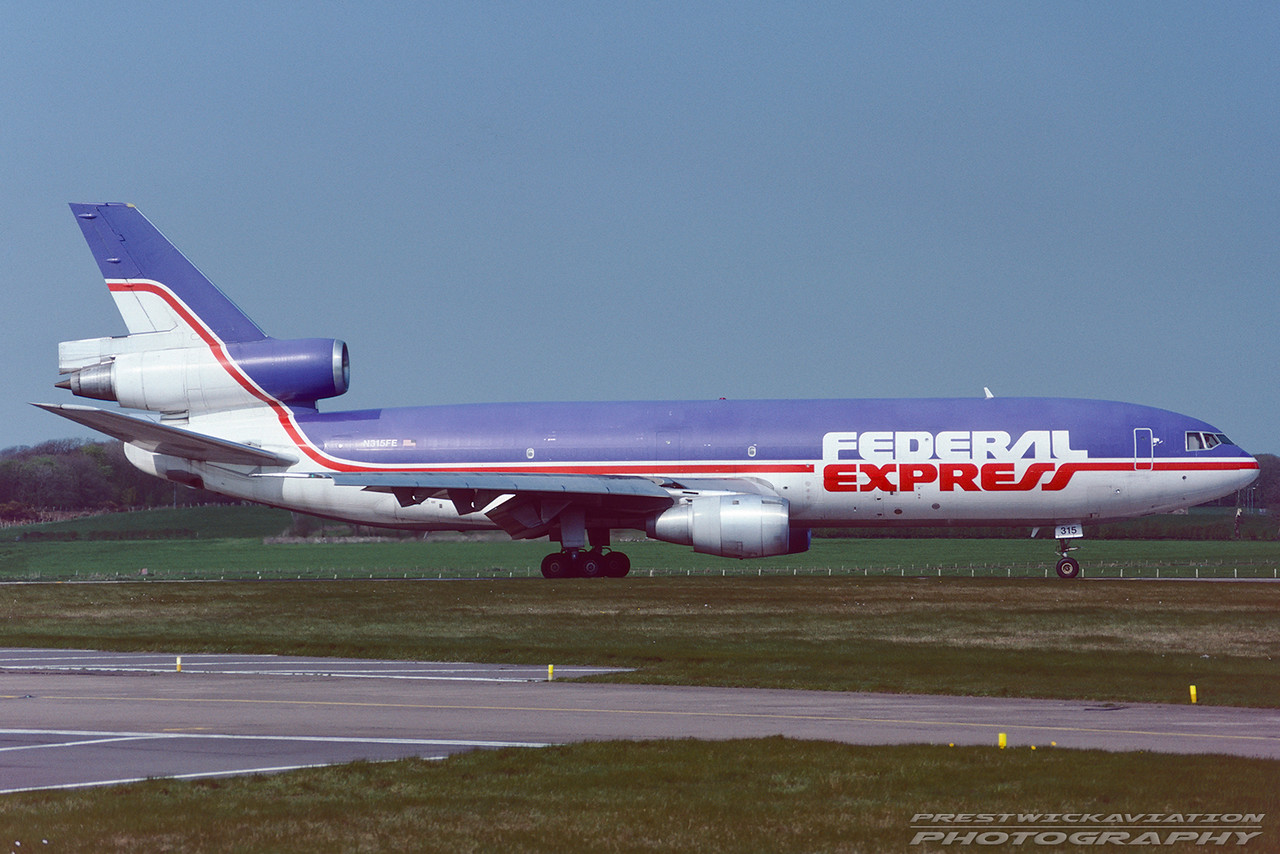 N315FE. McDonnell Douglas DC-10-30(F). Federal Express. Prestwick. October. 1994.