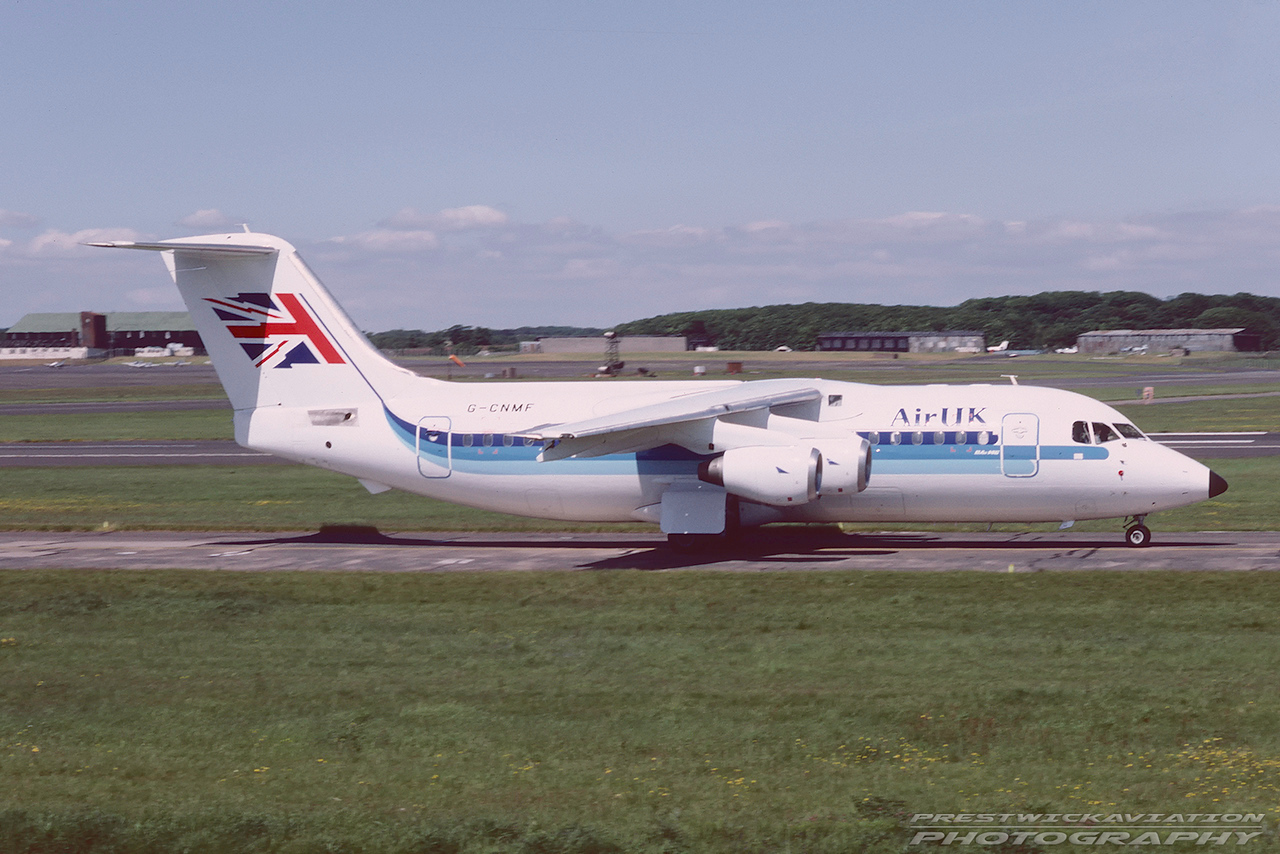 G-CNMF. British Aerospace BAe-146-200. Air UK. Prestwick. July. 1988.