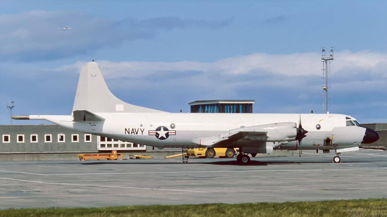 160766. Lockheed P-3C Orion. US Navy. Prestwick. 1980`s.