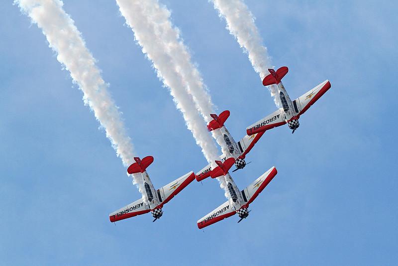 Aeroshell Aerobatic Flight Team in the AT-6 Texans at the 2014 Quad City Air Show