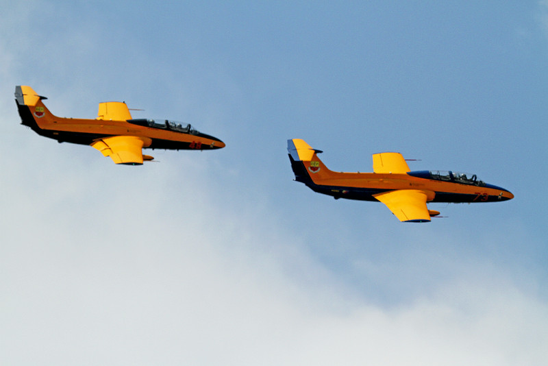 University of Iowa Hawkeye Jet Demo Team in the L-29 Jets at the 2014 Quad City Air Show