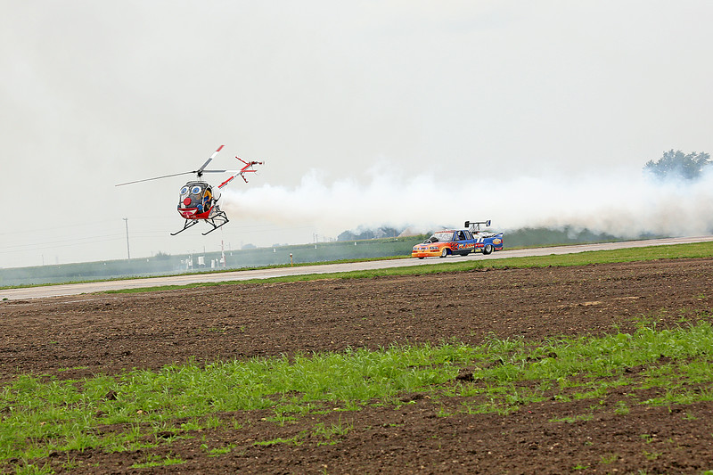 Roger Buis and Otto the Helicopter (2013 Performer of the Year) and Neal Darnell in the Flash Fire Jet Truck at the 2014 Quad City Air Show