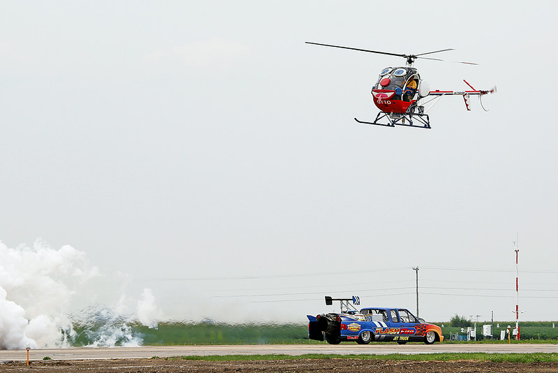 Neal Darnell in the Flash Fire Jet Truck and Roger Buis and Otto the Helicopter (2013 Performer of the Year) at the 2014 Quad City Air Show