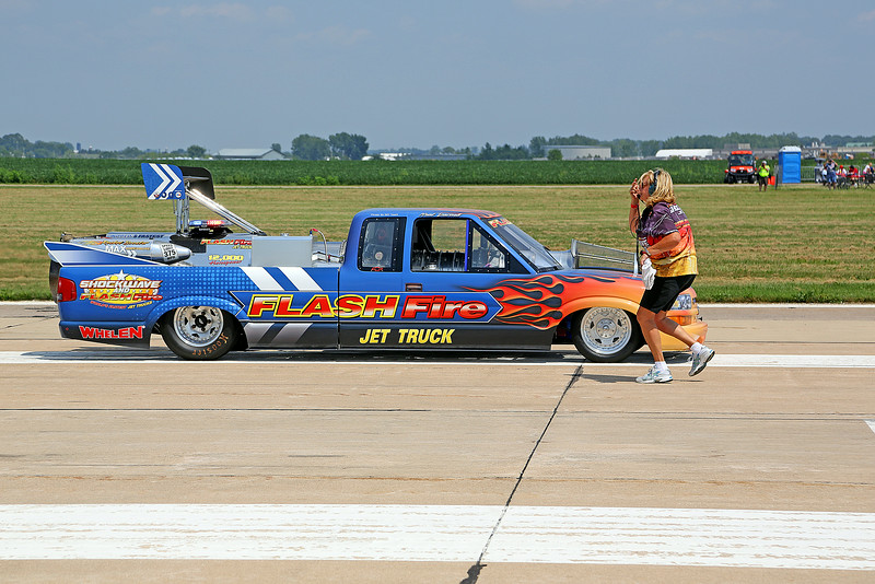 Neal Darnell in the Flash Fire Jet Truck at the 2014 Quad City Air Show