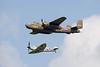 "North American B-25 Mitchell 232511 ""Sarinah"" and Supermarine Spitfire Mk.IX of Royal Netherlands Air Force historical flight"