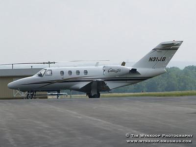 N31JB, Jeff Burton's 1999 Cessna Citation CJ1 at Mt. Pocono Airport (MPO) Pennsylvania on June 10, 2007.