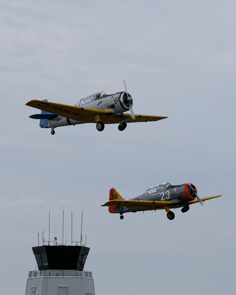 """North American SNJ """"Texans"""" just after take off"""