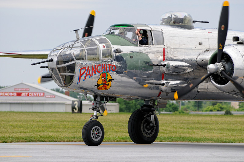"""North American B-25J """"Mitchell"""" taxiing by for takeoff"""