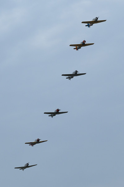 "Flock of North American SNJ ""Texans"" lined up on a fly-by"
