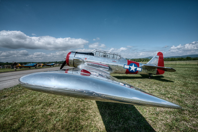 """LOOKING DOWN THE WING OF A NORTH AMERICAN AT-6  """"TEXAN"""""""