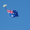 Redbull Air Race Perth 2008. Parachute drop in with the Australian Flag.