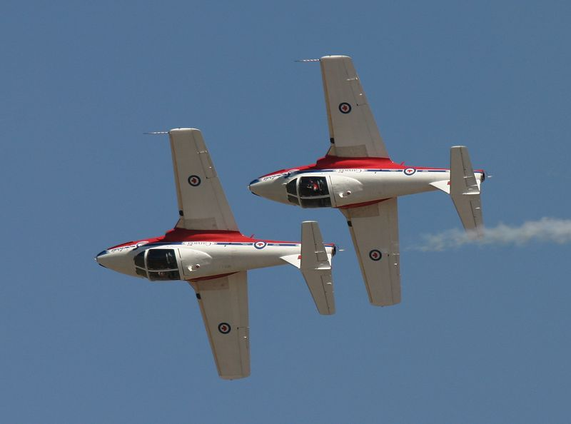 Two Canadian Snowbirds performing a formation slow roll.
