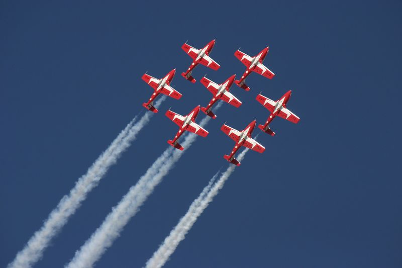 Canadian Snowbirds in a formation roll.