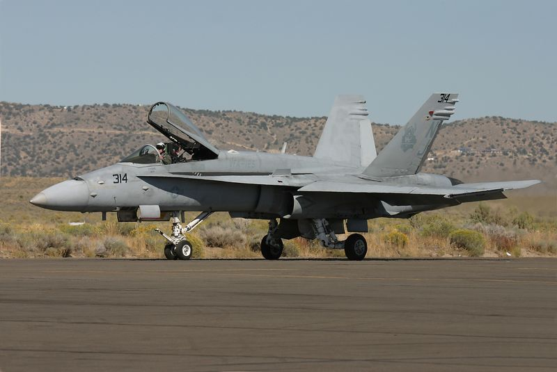 FA-18 Hornet taxis out for takeoff.