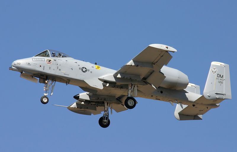 Air Froce A-10 Thuderbolt II (Warthog) in a slow pass.