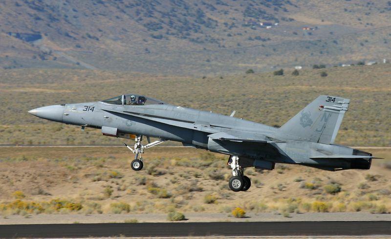 FA-18 Hornet taking off for a demonstration flight.