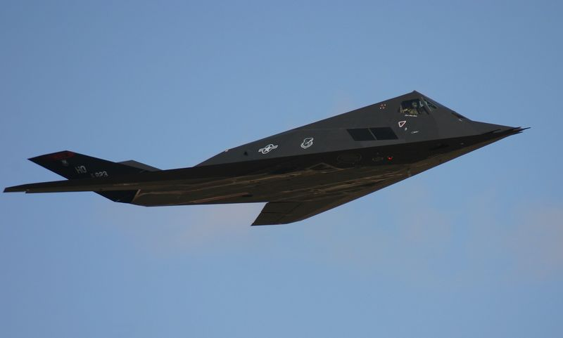 F-117 Stealth in a flyby at the Reno Air Races 2005.