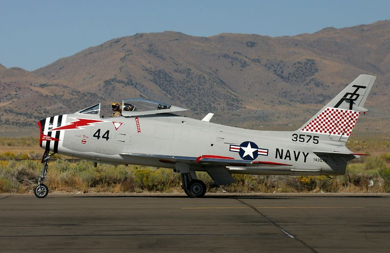 The only airworthy FJ-4B Fury. Taxing out for takeoff at Reno Stead.