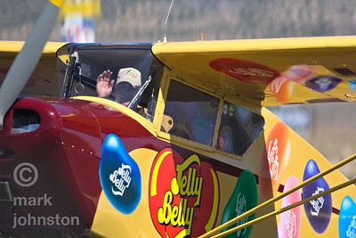"Kent Pietsch and his 1942 Interstate Cadet taxi to a stop after a power-off ""dead stick"" aerobatic routine that starts from an altitude of 6,000 feet and ends with Kent landing at show center, during the 2007 National Championship Air Races and Air Show in Reno, Nevada, USA."