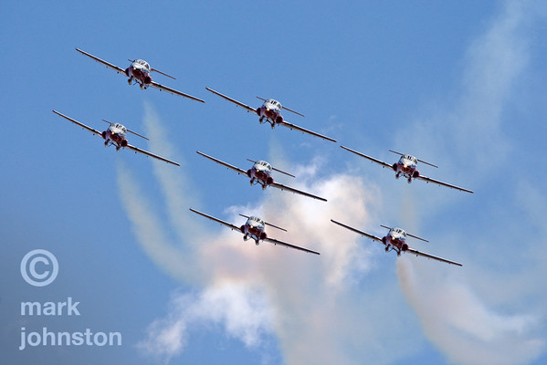 The Canadian Forces Snowbirds, have been regular visitors to the Reno Air Races.  Officially known as 431 Squadron, the Snowbirds fly the Canadair CT-114 Tutor, a Canada-built jet used by the Canadian Forces as its basic pilot training aircraft until 2000.  Their tight formations of up to nine aircraft and smooth maneuvers make them favorites with air show fans.  The National Championship Air Races and Air Show feature several classes of up to laps aircraft racing together for up to eight laps around a closed course demarcated by specially marked poles [pylons] at speeds exceeding 500 mph.  The event, held each September at Nevada's Reno Stead Field, also includes a large static aircraft display, aerobatic performances and flight demonstrations by military and civil aircraft, and related events.  For more information, visit http://www.airrace.org/