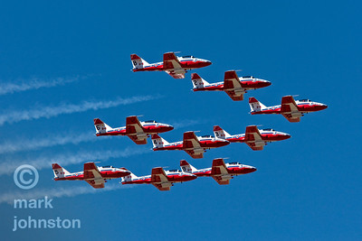 The Canadian Forces Snowbirds, have been regular visitors to the Reno Air Races.  Officially known as 431 Squadron, the Snowbirds fly the Canadair CT-114 Tutor, a Canada-built jet used by the Canadian Forces as its basic pilot training aircraft until 2000.  Their tight formations of up to nine aircraft and smooth maneuvers make them favorites with air show fans.