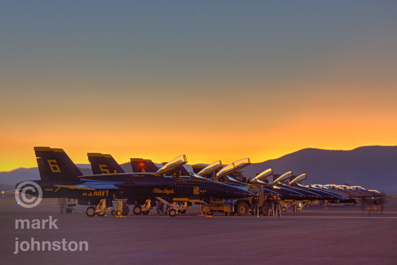 The Blue Angels F/A-18 Hornet aircraft on the ramp at dawn at the 2009 National Championship Air Races & Air Show in Reno, Nevada, USA.