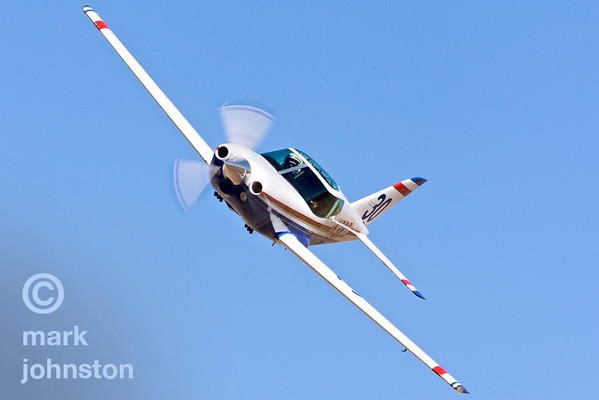 """Jim Vitale and Sport Class Race 30, """"Sugarplum"""", a Swearingen SX300,Josh B at the 2007 National Championship Air Races.  Vitale and """"Sugarplum"""" qualified in 17th position with a speed of 278.921 mph, and went on to finish fourth in the Sport Silver race at a speed of 275.303 mph."""
