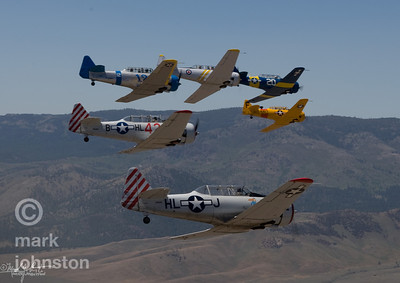 TT-6 Class racers form up before heading onto the race course during the National Championship Air Races & Air Show, held each September in Reno, Nevada, USA.