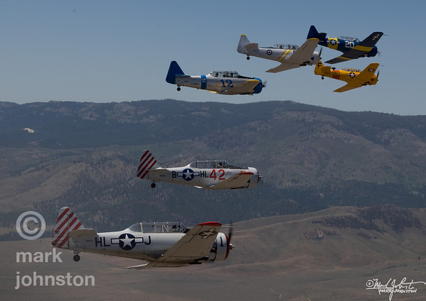 T-6 Class racers form up before heading onto the race course during the National Championship Air Races & Air Show, held each September in Reno, Nevada, USA.