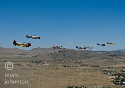 The National Championship Air Races and Air Show feature several classes of up to laps aircraft racing togT-6 Class racers form up before heading onto the race course during the National Championship Air Races & Air Show, held each September in Reno, Nevada, USA.