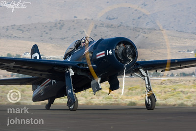 "Howard Pardue and Unlimited Class Race 14, ""Bearcat"", taxi out for take-off after the 2007 National Championship Air Races and Air Show in Reno, Nevada, USA.  ""Bearcat"" placed fourth in the Unlimited Silver at a speed of 387.140mph."