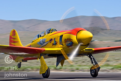 "Dan Vance and Unlimited Class Race 911, ""September Pops"", a Hawker Sea Fury at the 2008 Pylon Racing Seminar, an opportunity for race pilots to get practice time on the race course at Reno."