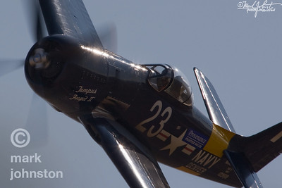"Dave, Morss flying Unlimited Cass Race 23, ""Tempus Fugit II"", a Grumman F8F Bearcat, during a Qualifying run prior to the 2007 National Championship Air Races in Reno, Nevada, USA."