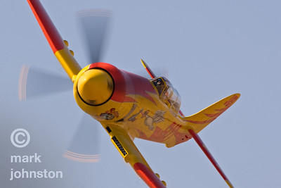 """Dan Vance qualifies Unlimited Race 911, Hawker Sea Fury """"September Pops"""", in 15th position at a speed of 402.798 mph at the 2007 National Championship Air Races in Reno, Nevada, USA."""