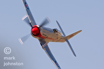 """Dreadnought"", a highly-modified Hawker Sea Fury carrying a Wright R-4360 ""Wasp Major"" power plant developing over 4,000 horsepower, during qualifying at the 2007 National Championship Air Races.  Matt Jackson qualified ""Dreadnought"" in third place in the Unlimited Class at a speed of 451.385 mph."