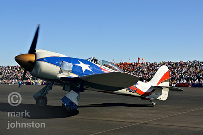 "Stu Dawson's Hawker Sea Fury ""Spirit of Texas"" received a patriotic Texas paint job in 2005.  Here, Dawson taxis ""Spirit"" out for the 2006 Unlimited Class Gold Race, in which they placed fifth at a speed of 428.753 mph."