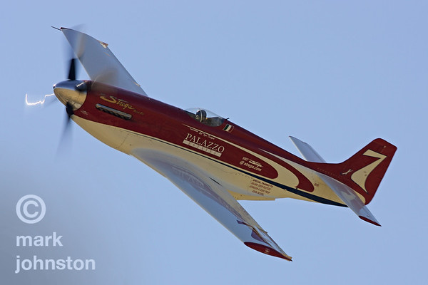 "Although she dropped out during the fifth lap of the championship race with engine trouble in 2006, Tiger Destefani's North American P-51D Mustang, ""Strega"", has racked up an impressive six Unlimited Class championships at Reno, and remains a fan favorite."