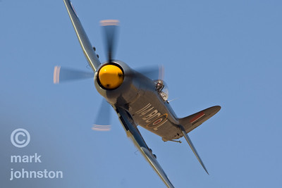 "Hawker Sea Fury ""Argonaut"", Unlimited Class Race 114, is flown by CJ Stephens during qualifying sessions at the 2007 Reno Air Races.  Stephens qualified ""Argonaut"" fourteenth in the field at a speed of 408.189, and went on to place sixth in the Breitling Unlimited Gold Race at a speed of 400.280 mph."