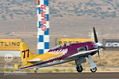 "John Penney and ""Rare Bear"" taxi out for a test flight early in the week during the 2007 National Championship Air Races.  Although plagued with problems all week, the ""Rare Bear"" crew managed to pull it together and win the Unlimited Gold Race at the end of the event at a speed of 478.394 mph."
