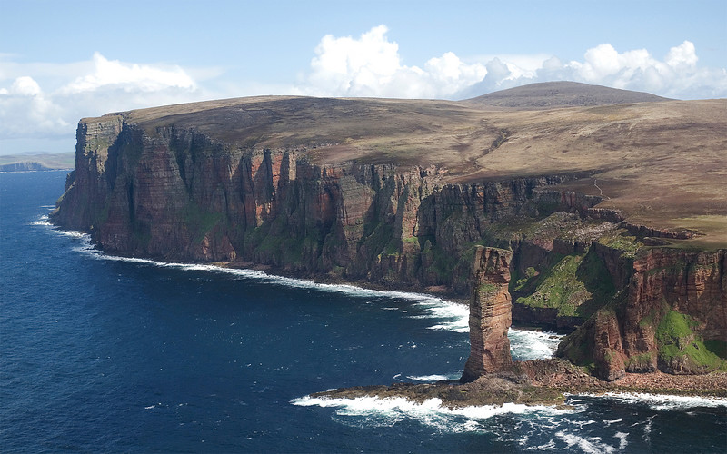 The Old Man of Hoy is a 500' high stone stack that will one day crash into the surf below. Site of one of the first live outside broadcasts by the BBC.
