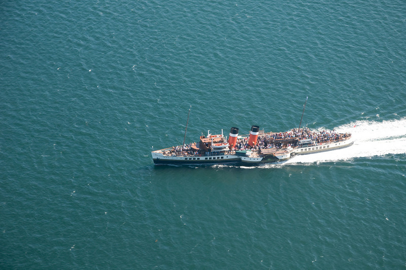 The paddle ship Waverley in the waters off the west coast of Scotland from G-OOJP