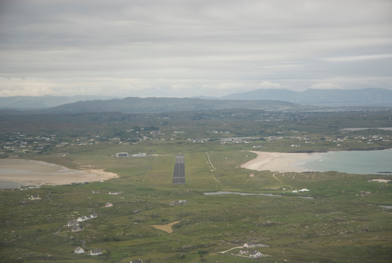 short final to Donegal in Ireland. What can I say? Beaches both sides of the field. Incomparable conversation and hospitality and less than an hour from base. Lovely people and great ATC. Has an NDB only as let down aid.