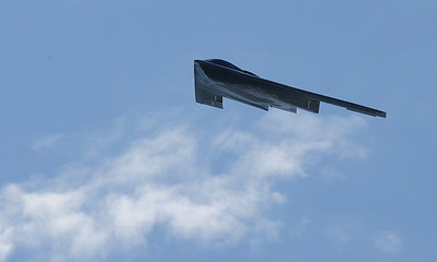 A U.S. Airforce B-2 bomber flies over Rocky Mountain Metropolitan Airport during Saturday's Rocky Mountain Airshow. August 27, 2011 staff photo/ David R. Jennings