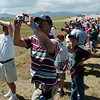 All eyes and cameras of fans watch the U.S. Airforce B-2 bomber fly over Rocky Mountain Metropolitan Airport during Saturday's Rocky Mountain Airshow.<br /> August 27, 2011<br /> staff photo/ David R. Jennings